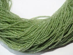 Peridot 2mm Faceted Rondelle Gemstone Beads