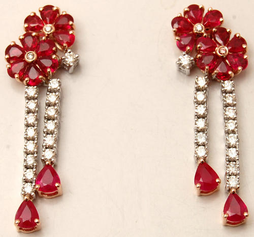 exquisite prong set diamond studded ruby floral hanging earrings indian supplier