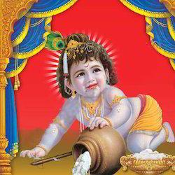 Krishna Glass Painting