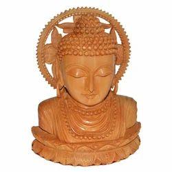 Wooden Kamal Buddha Bust
