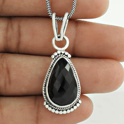 Gorgeous Black Onyx 925 Sterling Silver Pendant
