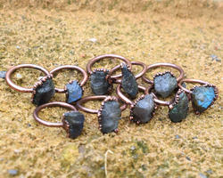 Labradorite Rough Stone Rings
