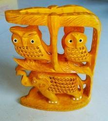 Wooden Owl With Elephant