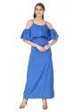 Blue Cold Shoulder Maxi Dress