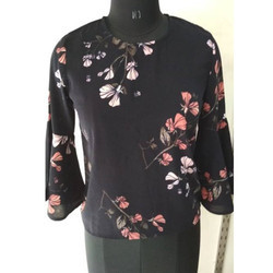 Ladies Printed Black Top