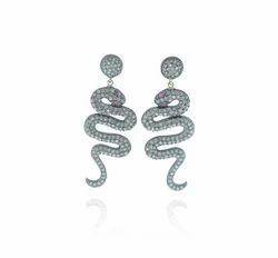 Diamond Gemstone Snake Earrings