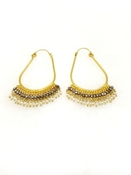 Drop Shape Pearl, CZ Earring