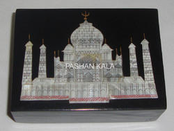 Black Marble Taj Mahal Jewelry Box