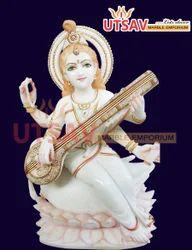White Marble Lord Saraswathi Mata Statue
