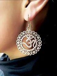 Brass Earring with Om Design