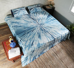 Double Bed Abstract Navy Blue Cotton Tie Dyed Bed Sheets