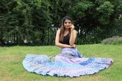 Indian Cotton Block Printed Long Skirt Women Casual Fashionable Skirt