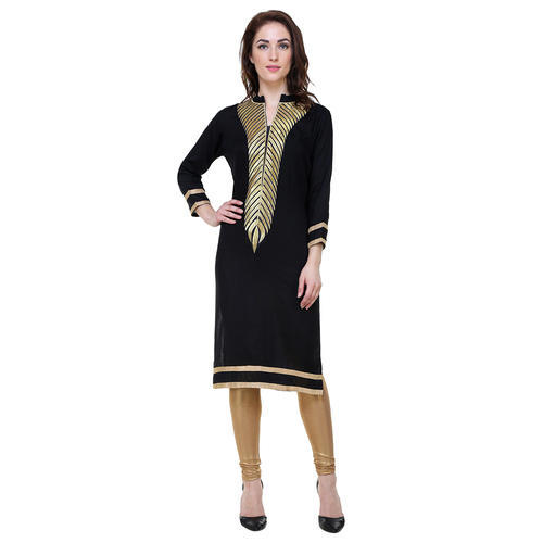 4d1efbfc75 Ladies Kurtis - Black Gold Embroidery Ladies Kurti Manufacturer from New  Delhi