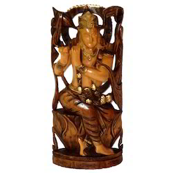 Wooden Black Finishing Krishna Statue