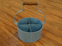 Galvanized 4- Partition Storage Caddy With Wooden Handle