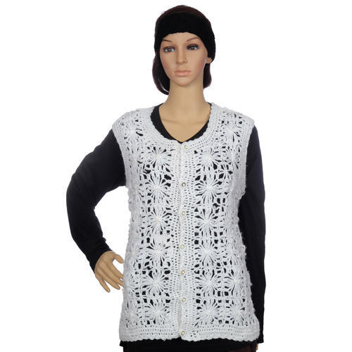 3e7905c12 Woollen Jackets and boleros or shrugs - White Lacy Crochet Woolen ...