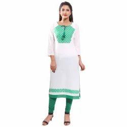 White Green Cotton Kurti