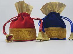 Wedding Pitara Shagun Gift Velvet Lace Potli Bags