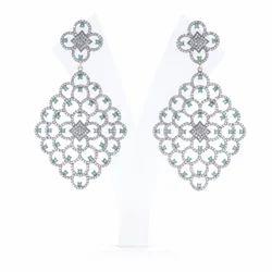 Diamond Emerald Dangle Earrings