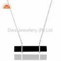 Black Onyx Gemstone 925 Silver Chain Necklace