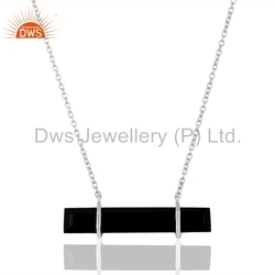 925 Sterling Silver Gemstone Bar Necklace