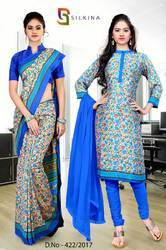 Sea Blue and Golden Italian Crepe Uniform Saree Kurti Combo