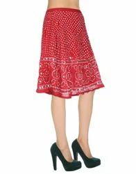 Ethnic Bendhej Tie Dye Red Sequins Work Knee Length Skirts