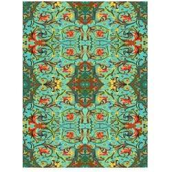 Colored Green Printed Fabric