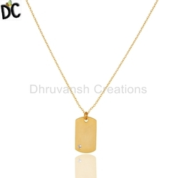 Yellow Gold Plated Silver Chain Pendant