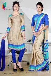 Golden and Blue Italian Crepe Uniform Saree Kurti Combo
