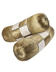 Polydupion Golden Leaves Printed Patch Work Bolster Cover