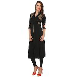 Ira-Soleil-Black-Polyester-Knitted-Stretchable-Front-Open