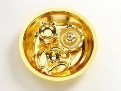 Ojas Gold Plated Swastik Pooja Thali