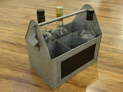 Galvanised 6- Partition Storage Caddy With Bottle Opener