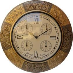 Brass Fitted World Time Wall Clock