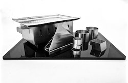 Silver Black Theme Rectangular Snack Service Set