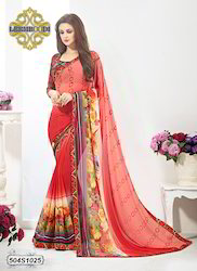 Printed Flower Border Saree