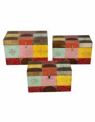 Hand-Painted Wooden Decorative Storage Box