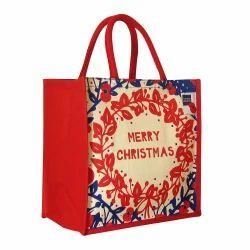Cord Handle Jute Christmas Bags