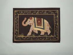 Multi Coloured Elephant Silk Painting
