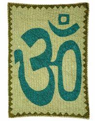 OM Patch Work Green Cotton Kantha Work Wall Art Tapestries
