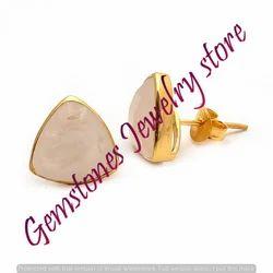 Rainbow Moonstone Gemstone Stud Earring