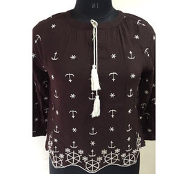 Ladies Brown Printed Top