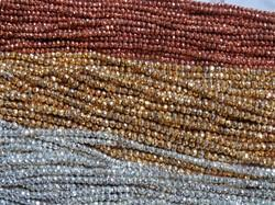 Silver Copper Gold Pyrite Faceted Rondelle Stone Bead Strand