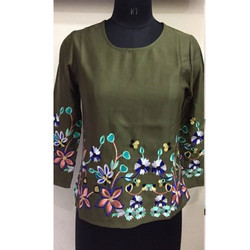 Ladies Green embroidry tuncil top
