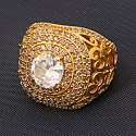 Rhodhium Polished Zircon Studded Kings Ring for Mens Amaricon Diamond Rin