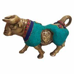Brass Bull With Stone Work