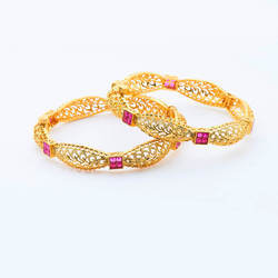 2 Pc Openable Gold Plated Ethnic Bangles - 15087