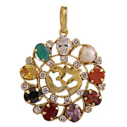 Navratan Or Navgrah Brass Om And Round Pendant