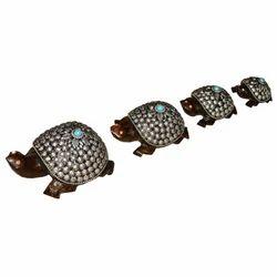 Wooden Tortoise Set With Metal Work
